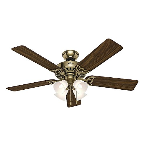Hunter 53063 Studio Series 52-inch Antique Brass Ceiling Fan with Five Walnut/Medium Oak Blades and Light Kit