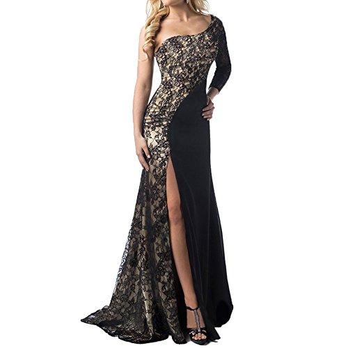 [Women One Shoulder Side Split Floor-Length Lace Maxi Dress Evening Dress] (Masquerade Dress)