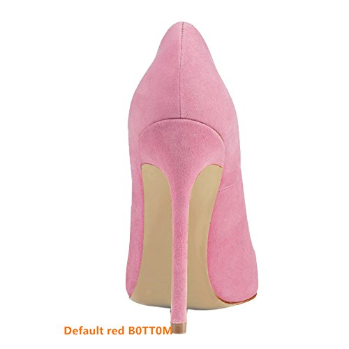 Vestir Slip Sexy Aguja Mujer Bombas Pan Pink 35 45 Zapatos Estrecha de de Red de Alta Zapatos Suede Caitlin On Tacones EU Punta de B0tt0m Mujeres Formal wH6Zq77Ax