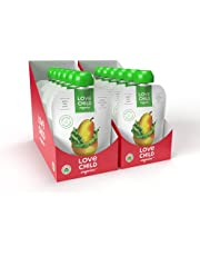 Love Child Organics Superblends, Pears, Kale, Peas, Baby Food, 128 ml Pouch Puree (12 Pack), 6 months plus