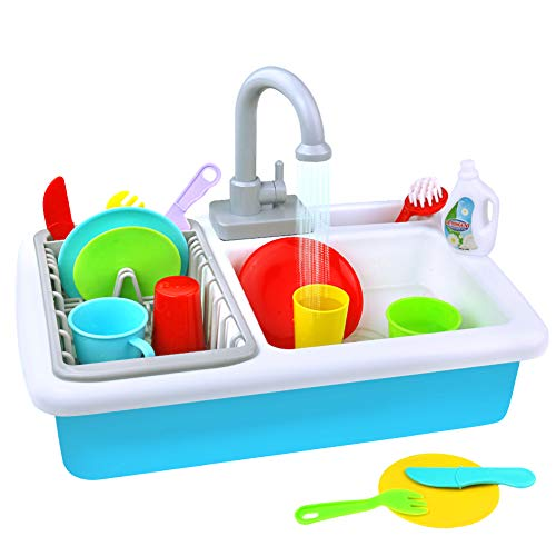 (Fajiabao Play Kitchen Toy Sink Playset Utensils Play Dishes Accessories Plates Faucet with Running Water Pretend Drainer Set Gift for Toddlers Kids Boys Girls)