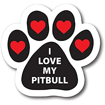I love my pitbull pawprint car magnet by magnet me up paw print auto truck decal