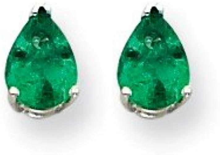 May Mia Diamonds 14k Yellow Gold 5mm Emerald Earrings