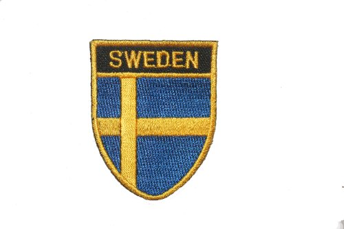 Sweden Country Flag OVAL SHIELD Embroidered Iron on Patch Crest Badge 2 X 2 1/2 Inch .. (Sweden Country Flag)