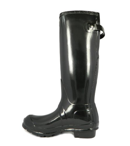 Hunter Original Back Adjustable Gloss - Botas para mujer negro - negro