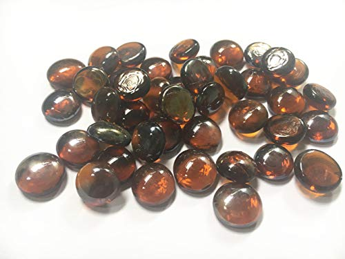 (Liying shop Glass Gem Stone, 1Lbs Flat Marbles Pebbles for Vase Fillers, Table Scatter, Aquarium Fish Tank, Party Decoration, Crystal Rocks (Approx 100 Pcs Amber))