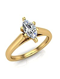 Marquise Cut Solitaire Diamond Engagement Ring 14K Gold 3/8 ctw (G,VS1) Signature Rare Quality