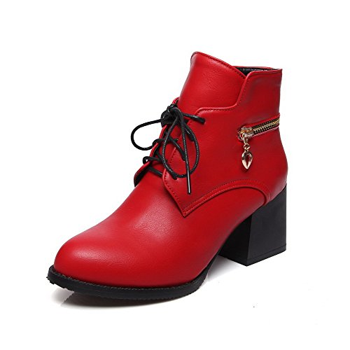 Soft Lace Women's WeenFashion Material Solid Top Red Low Boots Up Kitten Heels qtdax8wT