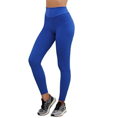 Women's Yoga Pants Knitting 3D Mesh Leggings Butt Lift Gym Workout Running Tights High Rise Blue M ()