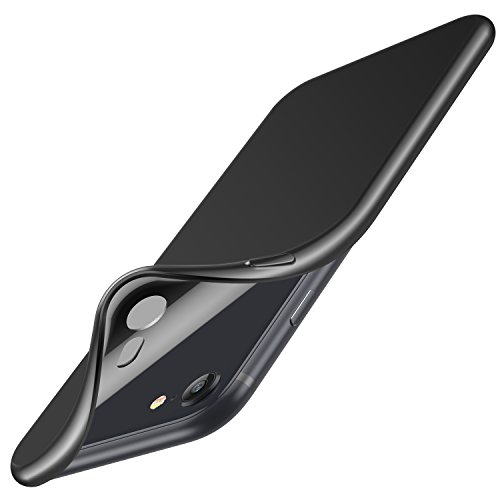 01 Carrying Case Black (iPhone 8 Case, iPhone 7 Case, RANVOO Soft TPU Case Ultra Thin Slim Fit Anti-fingerprint Flexible Rubber Cover [Support Wireless Charging] for iPhone 8/7, Matte Black)