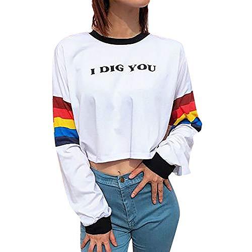 Ciel Couture Arc Rayure Occasionnel Manches Longues Shirt Femme Sweat Blanc Patchwork Shirt C dcontract Sweat en Chemise Longue Pull Aux Tops Femmes Cou o Manche Chemisier Pull Chic qwS67