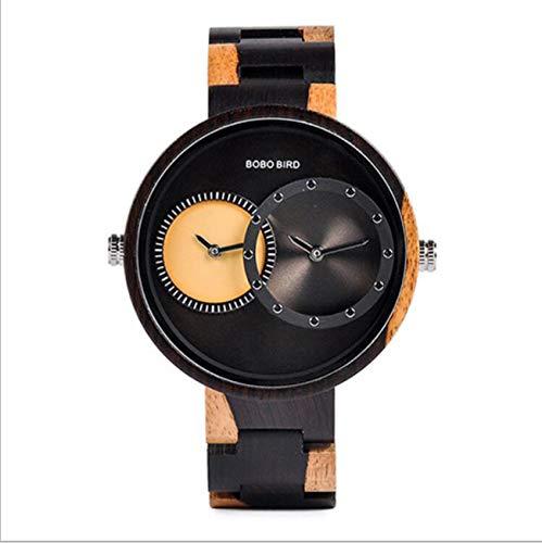 BOBO BIRD Watch Men 2 Time Zone Wooden Quartz Watch Lover Wristwatches in Wooden -