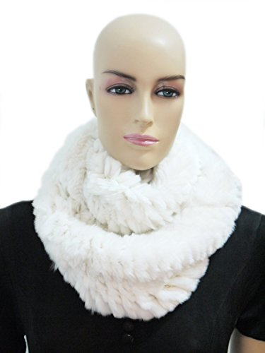 HIMA 100% Real Rex Rabbit Fur Infinity Scarf Length 47''-55'' (47'', White) by Hima