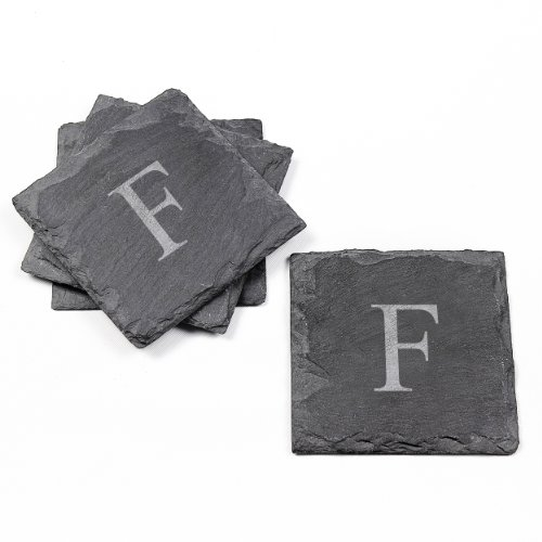 Cathy's Concepts Personalized Slate Coasters, Set of 4, Letter F