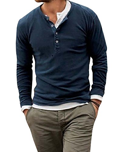 Karlywindow Men's Casual Solid Crew Neck Workwear Long Sleeve Henley Shirt