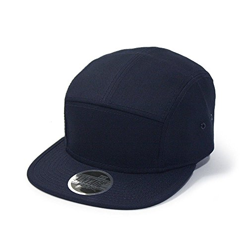 Solid Cotton Twill Square Flat Brim Adjustable Camper Cap (Navy) - 5 Panel Twill Structured Cap