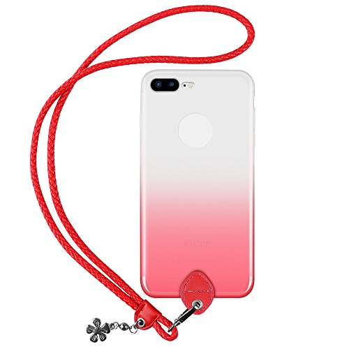 pzoz Case Compatible iPhone 7 Plus/8 Plus Case, Slim Silicone Lanyard Case Cover Holder Long Hanging Neck Wrist Strap Outdoors Travel Necklace Compatible iPhone 7 Plus/8 Plus (Clear Red)
