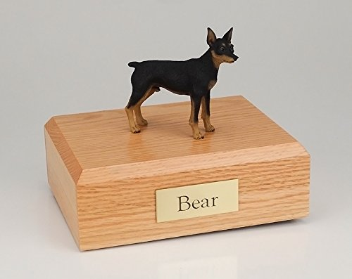 GENUINE North American Hardwood and Miniature Pinscher Dog Figurine Urn Black Small by Ever My Pet