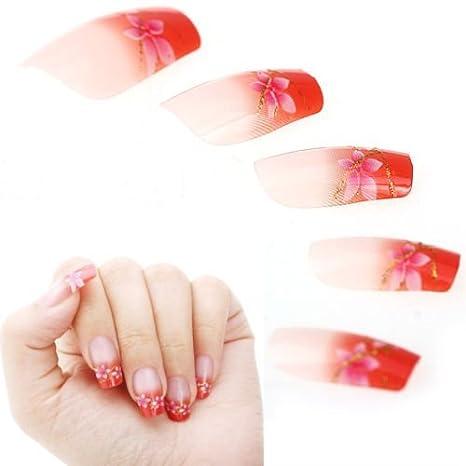 datconshop (TM) 24pcs Manicura Rosa Naranja francés acrílico uñas postizas consejos Kit Decoración: Amazon.es: Electrónica