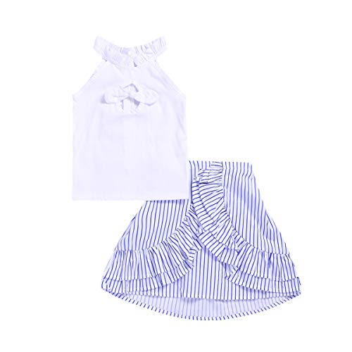 Kids Baby Girls Outfits White Sleeveless Crop Tops with Bow+Striped Tutu Ruffled Shorts Skirts Dress Summer Clothes Set (Striped Skirts, 5-6 Years)