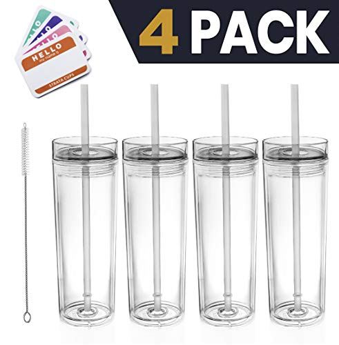 SKINNY TUMBLERS 4 Clear Acrylic Tumblers with Lids and Straws | 16oz Double Wall Clear Plastic Tumblers + FREE Straw Cleaner & Name Tags! Bulk Reusable Cups With Straw - Insulated Tumbler -
