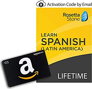 Rosetta Stone: Learn Spanish (Latin America) with Lifetime Access on iOS, Android, PC, and Mac - mobile & online access [PC/Mac Online Code] with $25 Amazon Gift Card (B07KNRW2RB) | Amazon price tracker / tracking, Amazon price history charts, Amazon price watches, Amazon price drop alerts