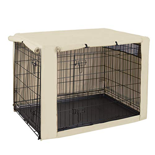 HiCaptain Polyester Dog Crate Cover - Durable Windproof Pet Kennel Cover for Wire Crate Indoor Outdoor Protection (48 inches, Light Tan)