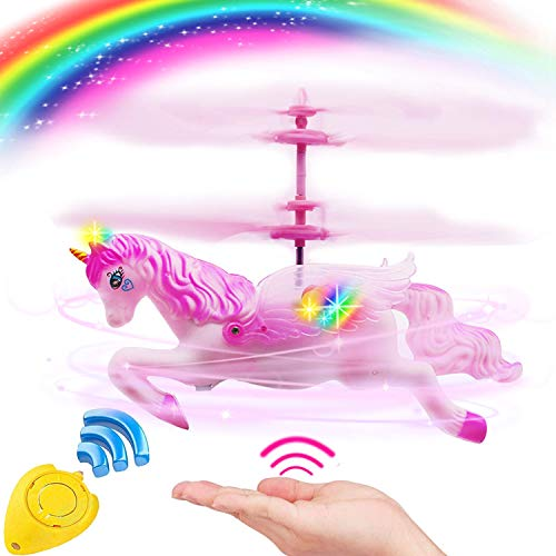 Flying Ball RC Unicorn Toys, Mini RC Flying Helicopter Unicorn Toy Gifts Hand Control Drones for Kids Boys Girls Flying Fairy Unicorn Doll Hovering Aircraft Outdoor Flying Toys Games Birthday ()