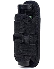 WYNEX Tactical Flashlight Holster Pouch, Rotatable Flashlight Holder Tactical Torch Carry Case with 360 Degree Carabiner Clip