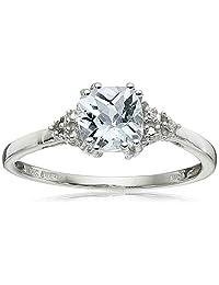 10k White Gold, March Birthstone, Aquamarine and Diamond Ring, Size 7