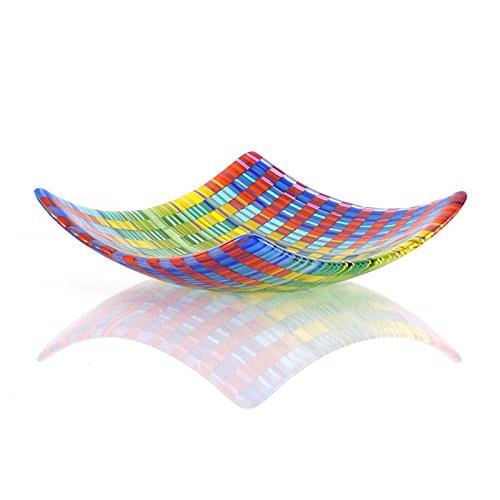 Rainbow Fused Glass Art Modern Decorative Square Bowl Coffee Striped Art Glass