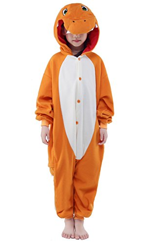 PECHASE NEWCOSPLAY Halloween Unisex Animal Pyjamas Child Cosplay Costume (125, Charmander)]()