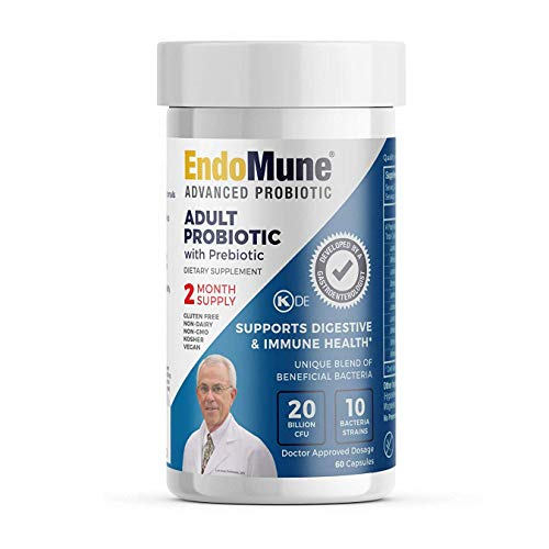 EndoMune Advanced Adult Multi-Strain Probiotic Supplement with Prebiotic | 10 Strains, 20 Billion CFU | Physician Formulated | 60 Vegetarian Capsules