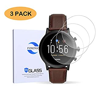 FINENIC Compatible for Fossil Gen 5 Carlyle HR Smartwatch Tempered Glass Screen Protector 【3 PCS】