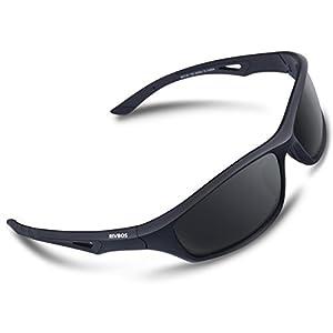 RIVBOS Polarized Sports Sunglasses Driving Comfortable Sun Glasses for Men Women Tr 90 Flexible Frame for Cycling Baseball Running 842 (Black, Black Polarized Lens)