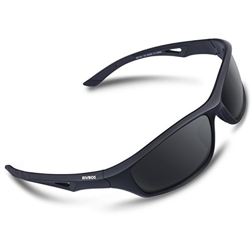 RIVBOS Polarized Sports Sunglasses Driving Comfortable Sun Glasses for Men Women Tr 90 Flexible Frame for Cycling Baseball Running 842 (Black, Black Polarized - Is What Sunglasses Polarized