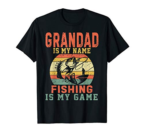 Mens Grandad Is My Name Fishing Is My Game T-Shirt Gifts For Mens