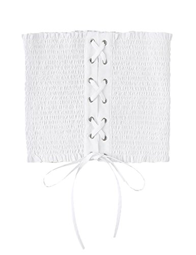 Tie Tube Top (MakeMeChic Women's Strapless Lace Up Pleated Sexy Tube Bandeau Tops White One Size)