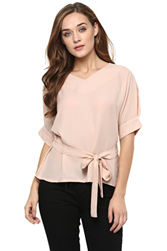 Miss Chase Women's Solid Knotted Half Sleeve V Neck Tops