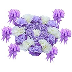 WINOMO Wedding Car Decorations Artificial Flowers for Wedding Decoration (Purple)