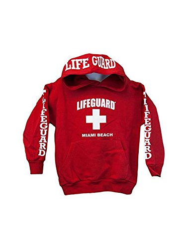 Lifeguard Kids Miami Beach Florida Life Guard Sweatshirt Red Hoodie (Youth X-...