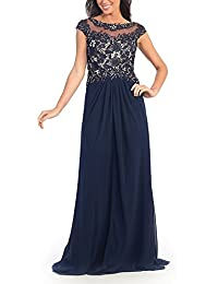 390c93de60acd Women s Long Chiffon Evening Dress with Lace Party Dresses