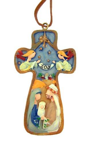 (Religious Gifts Star of Bethlehem Nativity of Christ Joy Cross 3 Inch Ornament Christmas Tree Decoration, Pack of 2)