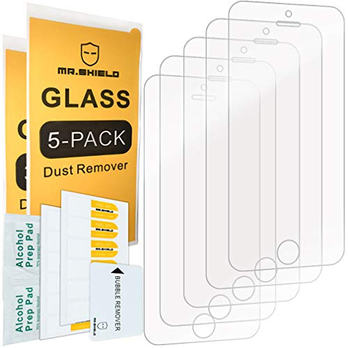 [5-Pack]-Mr Shield for iPhone SE/iPhone 5/5S / iPhone 5C [Tempered Glass] Screen Protector with Lifetime Replacement Warranty