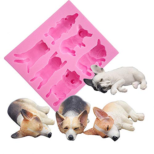 Bulldog Candy (Fewo 6-Cavity Sleeping Dog Corgi and French Bulldog Silicone Mold for Fondant Chocolate Candy Gum Paste Polymer Clay Resin Kitchen Baking Sugar Craft Cake Cupcake Decorating Tools ())