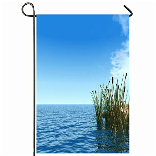 Ahawoso Seasonal Garden Flag 12x18 Inches Flora Blue Aquatic Water Reed Nature Life Brown Calm Clouds Cloudy Coast Design Pond Home Decorative Outdoor Double Sided House Yard Sign