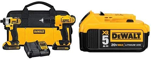 DEWALT DCK240C2 20v Lithium Drill Driver Impact Combo Kit 1.3Ah with DCB205 20V MAX XR 5.0Ah Lithium Ion Battery-Pack