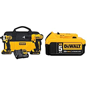 DEWALT DCK240C2 20v Lithium Drill Driver/Impact Combo Kit (1.3Ah) with DCB205 20V MAX XR 5.0Ah Lithium Ion Battery-Pack