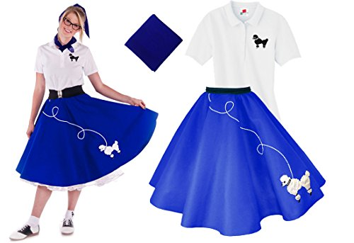 Homemade Plus Size Costumes Women (Hip Hop 50s Shop Adult 3 Piece Poodle Skirt Costume Set Royal Blue XXXLarge)