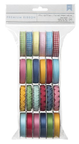 - American Crafts Extreme Value Ribbon Variety Pack 24 pack | Includes 6 gingham rolls, 6 basic grosgrain rolls, 6 ric rac rolls, and 6 solid satin rolls in assorted colors